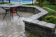 Tumbled Patio and Retaining Wall with Lights