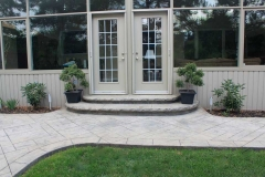 #46 York Stone Stamped Concrete with Rock Texture Bullnose.