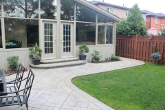 #47 York Stone Stamped Concrete with Rock Texture Bullnose.
