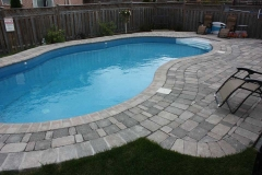 Pool Deck with Bullnose Border. Tumbled Pavers