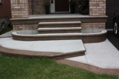 Regular Concrete with Stamped Border (Pecan Tan Colour), Faces of Steps and Bullnose.